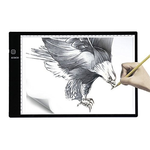 - 7500 Lux Tracing Light Box A4 Ultra Thin Tatoo Tracing Light Table LED Light Box Tattoo Pad with Stepless Adjustable Brightness for Animation, Designing, Sketching, Drawing, Artists, X-ray Viewer -USB