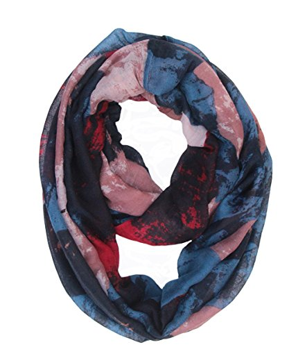 Review Lucky Leaf Women Lightweight Cozy Infinity Loop Scarf with Various Artist Print (Paintings Peacock Blue)