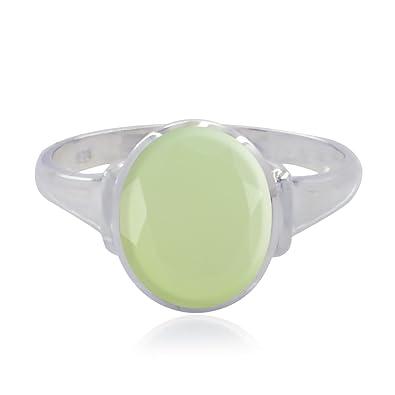 34ffd68b60fa Anillo de prehnita con forma de anillo de piedras preciosas naturales  ovaladas - 925 anillo de piedras ...