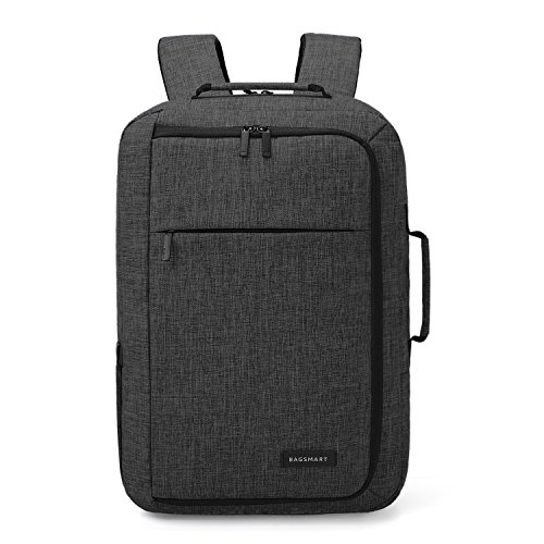 1 Convertible Briefcase - BAGSMART Men's Laptop Backpack Convertible Briefcase Water-Resistant 2-in-1 Business Travel Luggage Carrier Fits up to 15.6 Inches Laptops, Black