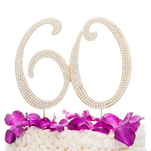 Anniversary 60th Birthday (Ella Celebration 60 Cake Topper for 60th Birthday or Anniversary Gold Party Supplies & Decoration Ideas (Gold))