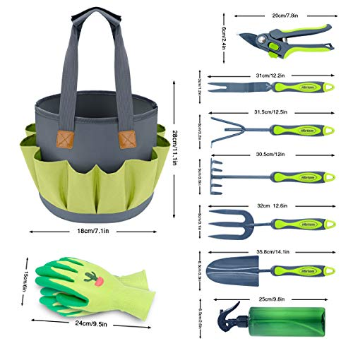 Hortem Gardening Tools Set, Heavy Duty 9 PCS Garden Kit Include Hand Tools, Pruners and Other Gardening Accessories as Gardening Gifts for Women and Men (Tools Gardening Of)