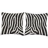 Set of 2 RoomCraft Zebra Throw Pillows 20x20 Square White Indoor-Outdoor Safari Animal Print Cushions