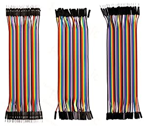 Haitronic 120pcs 20cm length Jumper Wires/dupont cable Multicolored(10 color) 40pin M to F, 40pin M to M, 40pin F to F for Breadboard / Arduino based / DIY/ raspberry Pi 2 3/Robot Ribbon Cables Kit
