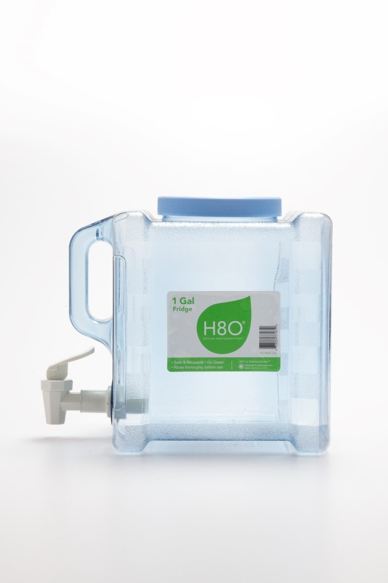 H8O Polycarbonate Portable Refrigerator Bottle with Valve, 1 gallon