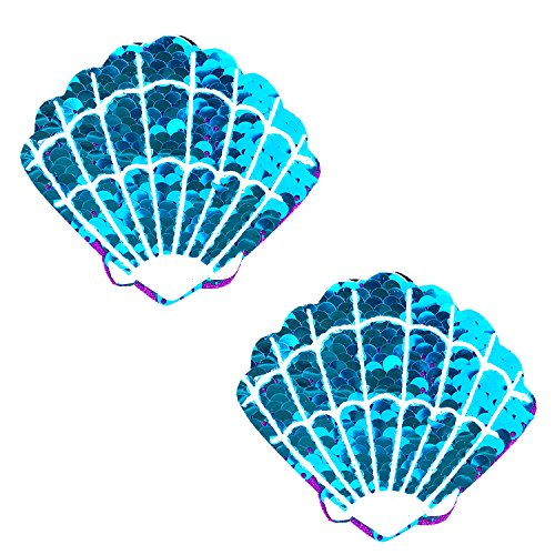 - Neva Nude Blue Jasmine Sparkle Sequin Mermaid Shell Nipztix Pasties Nipple Covers