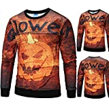 Mens 3D Print Halloween Scary Pumpkin Blouse Casual Party Long Sleeve Top Blouse By Farjing (M,Orange )