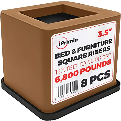 iPrimio Bed and Furniture Square Risers - 8 Pack Brown 3.5 INCH Size - Wont Crack & Scratch Floors - Heavy Duty Rubber Bottom - Patent Pending - Great for Wood and Carpet Surface