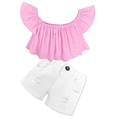 2Pcs/Set Toddler Kids Baby Girl Off Shoulder T-Shirt Top+White Denim Shorts Outfits