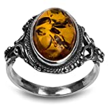 Sterling Silver Amber Oval Ring (Size 6)