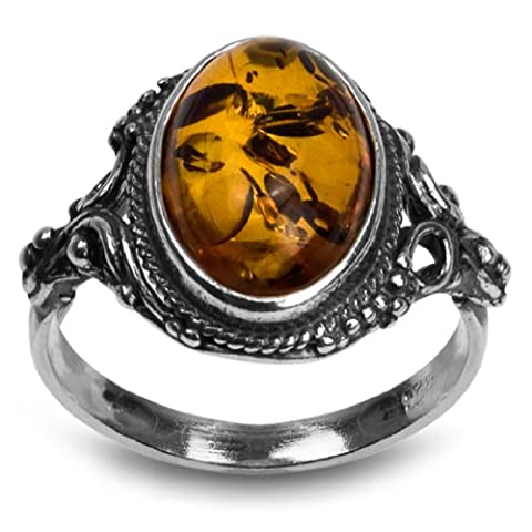 Sterling Silver Amber Oval Ring - Garnet Set Brooch