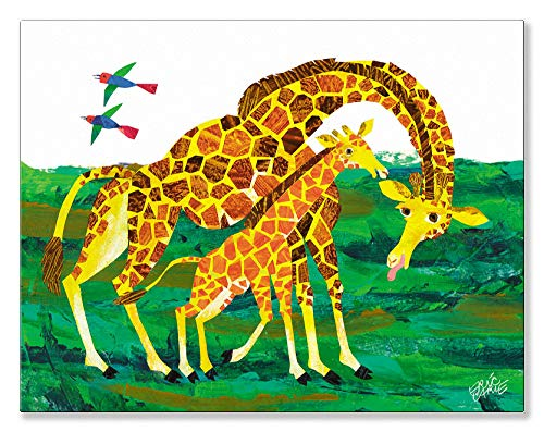 (Oopsy Daisy Eric Carle's Giraffe Mother Canvas Wall Art, 18x14, Green)