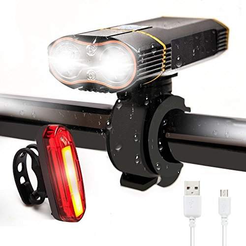 HOSYO USB Rechargeable Bike Light Set, Super Bright XM-L2 Bicycle Light, Free 6 Modes Safety Tail Light & Mount, Waterproof, Durable & Easy to Install & Remove for All Bike Safe Outdoor (Mode Bike Tail Light)