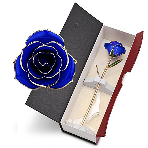 Gold plated Rose Sunsbell 24K Gold Foil Artificial Trimmed Rose with Transparent Stand Long Stem Flower Exquisite Box Gift Romantic Thanksgiving Mother's Day Valentine's Day Birthday Gift (Blue) (Long Romantic Stem)
