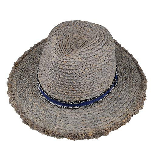 QIQIFA Women Wide Side 100% Raffia Straw Cap, Adjustable Size Beach Sun Hat,Suitable for Outdoor Hiking (Grey)