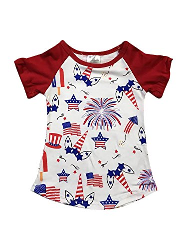 (Little Girl Kids Unicorn Firework Flag Stars Cotton Shirt Top Tee T-Shirt Burgundy 8 XXXL (501362))