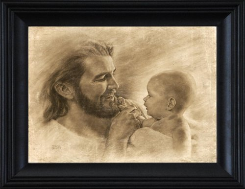 Precious - Wall Art Print Jesus Christ and Baby by David Bowman Religious Spiritual Christian Fine Art (21''x25'' Framed) by David Bowman