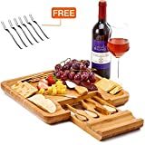 Utoplike Bamboo Cheese Board Wooden Charcuterie Platter & Meat Server with Slide-Out Drawer,4 Stainless Steel Knife and Fork-Personalized Gift Idea