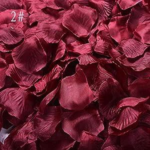 zhangbiao12 1 Set Silk Rose Petal Simulation Petals Rose Petals Wedding Room Layout Wedding Supplies 100pcs (Dark red) 54