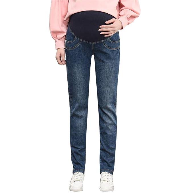 1973823ffe9a mama stadt Jeans Denim Skinny Fit Pantaloni Gravidanza Prenatal Donna Incinta  Pantaloni Jeans Stretti Vita Alta
