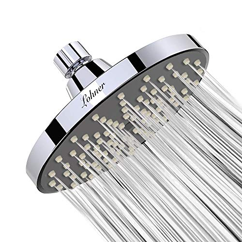 LOHNER Shower Head High Pressure Flow Fixed Showerhead Rainfall Spray 6 Inch Anti-Leak Anti-Clog Chrome Showerhead Removable Water Restrictor For the Best Relaxation and ()