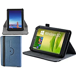 """Navitech Blue Faux Leather Hard Case Cover With 360 Rotational Stand For The All-New Fire 7 Tablet with Alexa, 7"""" Display, 8 GB, Black, Punch Red, Marine Blue, Canary Yellow"""