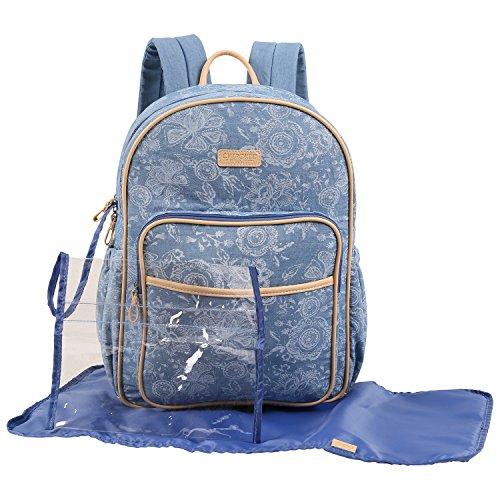 CHEROKEE Denim Print Backpack Diaper Bag
