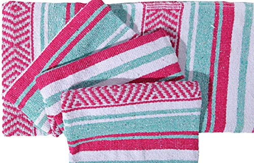 El Paso Designs Mexican Yoga Blanket Colorful 51in x 74in Studio Mexican Falsa Blanket Ideal for Yoga, Camping, Picnic, Beach Blanket, Bedding, Home Decor Soft Woven (Caribean) by El Paso Designs (Image #3)