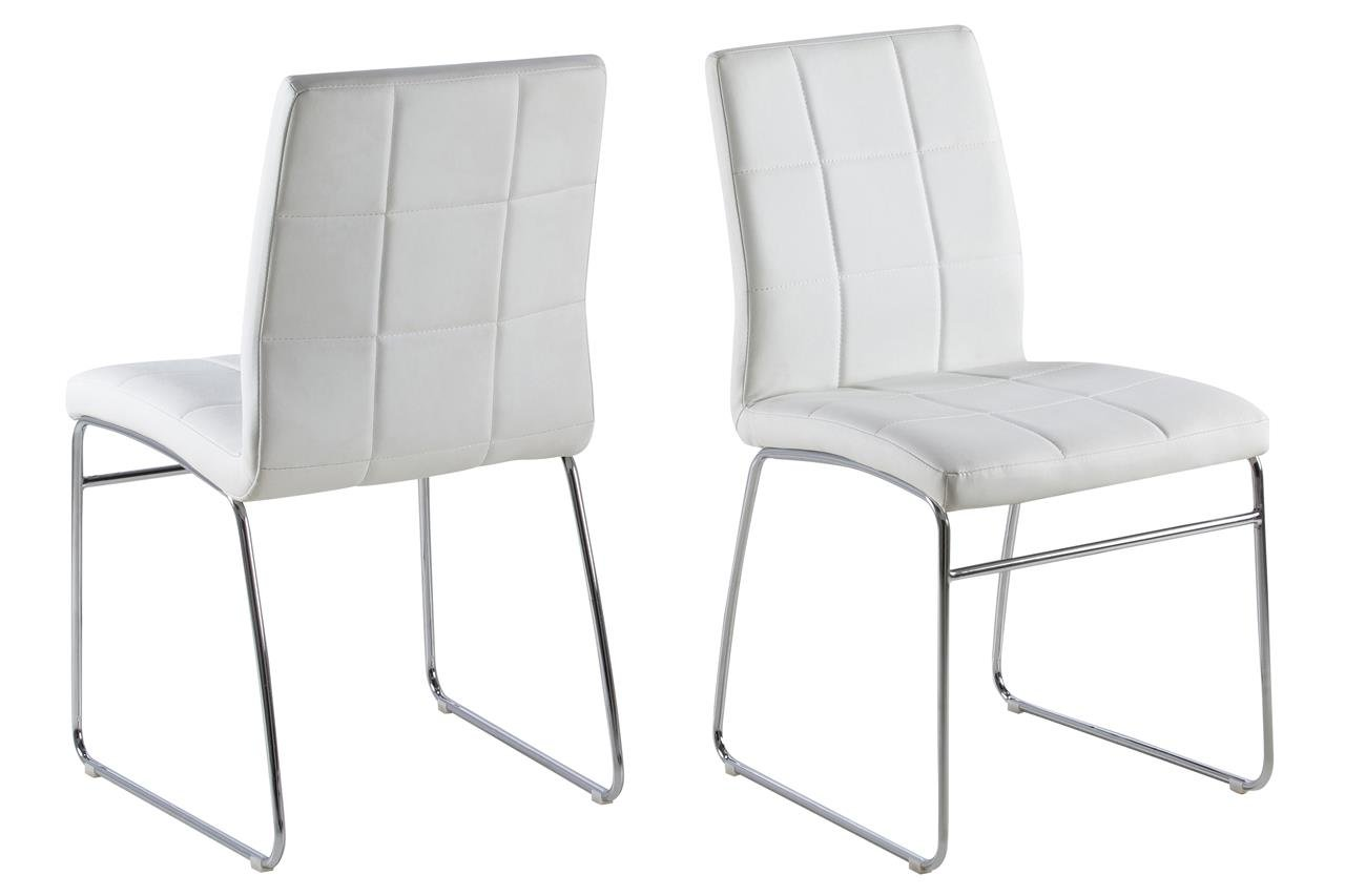 12 X Esszimmerstuhl Weiß Kunstleder Mit Chromgestell Moderner Stuhl