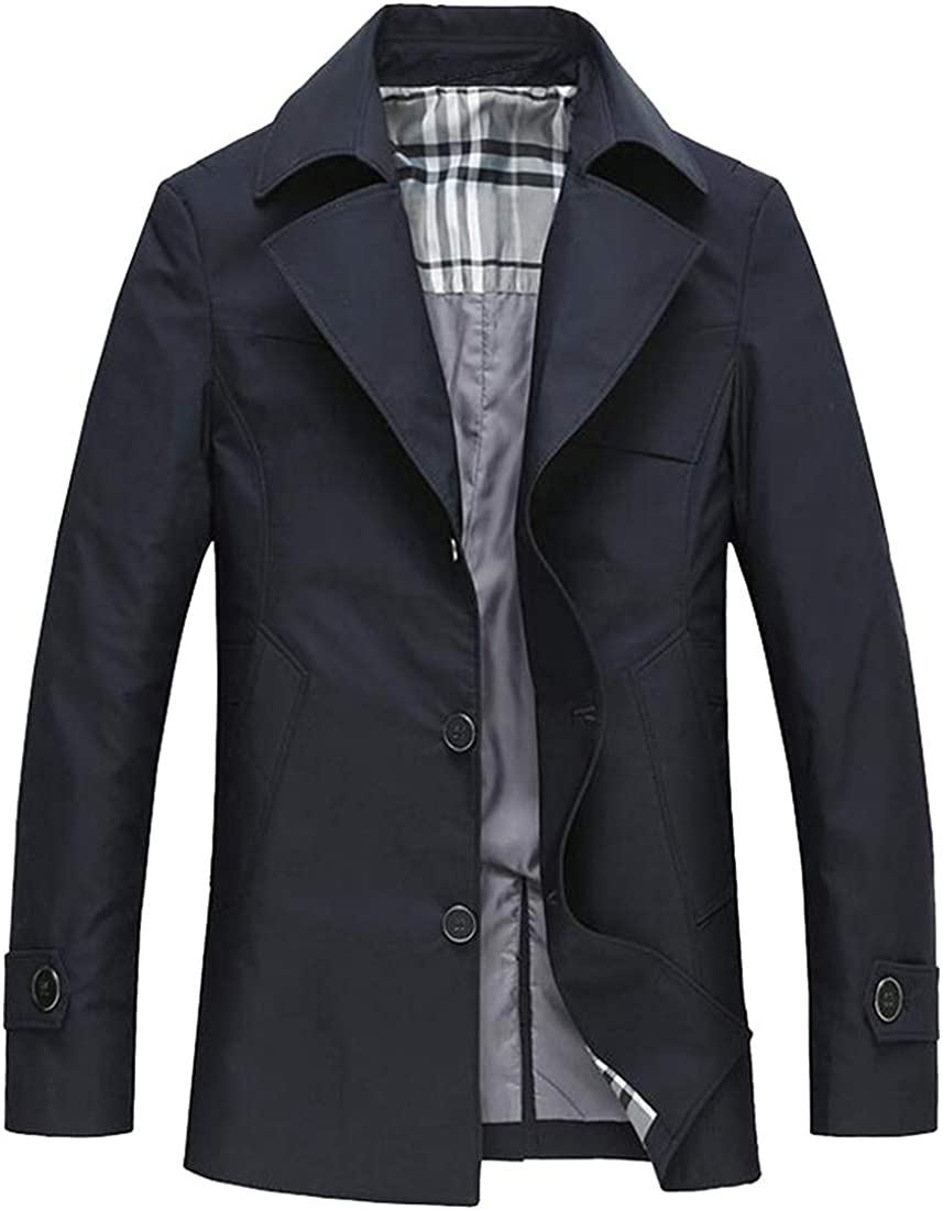 Mstyle Mens Single Breasted Classic Plus Size Longline Big and Tall Trench Coat Jacket Overcoat