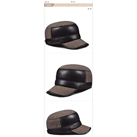 Amazon.com: XIAOGEGE-Mens Autumn and Winter Leather hat Flat Cap Youth Warm hat Military Cap Cap hat: Sports & Outdoors