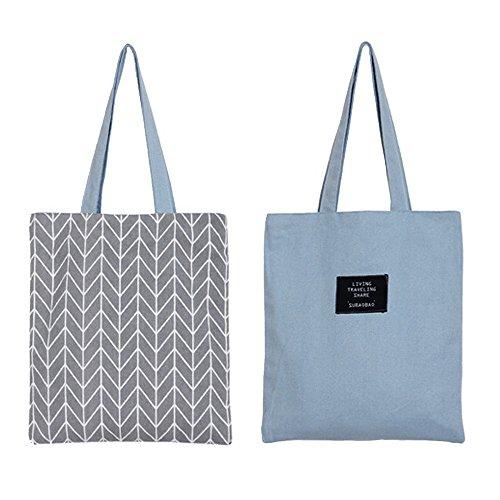 Flowertree Women's Graphic Pattern Handmade Reversible Canvas Tote Bag (herringbone)