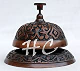 Antique Brass Ornate Hotel Counter Desk Bell Vintage Engraved Service Call Bells