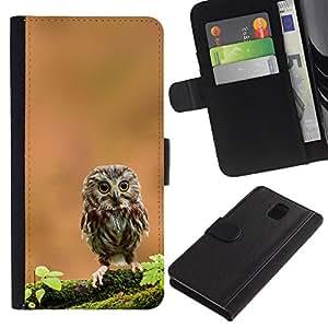 Be Good Phone Accessory // Caso del tirón Billetera de Cuero Titular de la tarjeta Carcasa Funda de Protección para Samsung Galaxy Note 3 III N9000 N9002 N9005 // The Curious Cute Owl