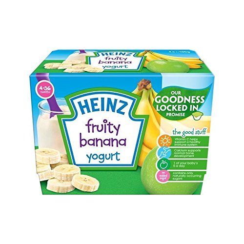 Heinz Fruity Yogurt Banana 4-36 Mnths 4 x 100g - Pack of 2