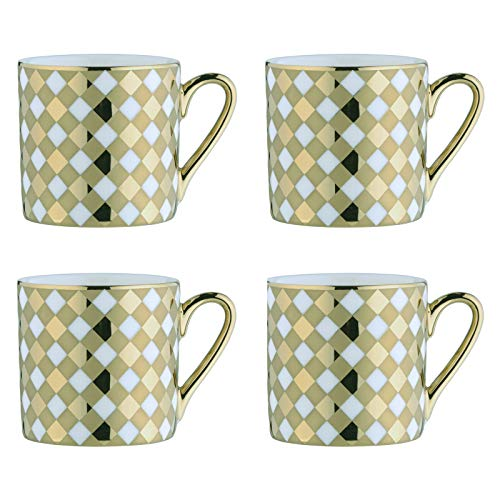 BIA 993012+1661PK4 Electroplated Mugs Espresso Cups, Porcelain, 100 milliliters