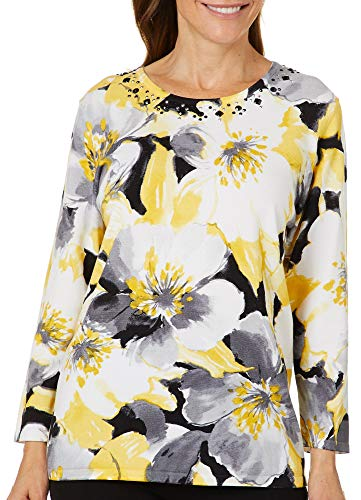Alfred Dunner Womens Native New Yorker Floral Jewel Sweater Large Yellow Multi