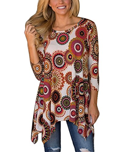 Print 3/4 Sleeve (MIROL Womens Casual Fall Floral Print 3/4 Sleeve Tunic Loose Long Blouse Tops,Brown,Medium)