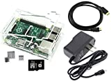 Games&Tech Raspberry Pi 3 Model B Complete Starter Kit with Clear Case, 8GB NOOBS Class 10 Micro SD Card, HDMI Cable, 5V 2A Power Supply, and Heatsinks