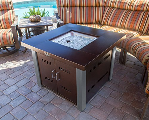 Amazon.com : AZ Patio Heaters Fire Pit, Propane In Two Tone Hammered Bronze  And Stainless Steel : Gas Fire Pit : Garden U0026 Outdoor