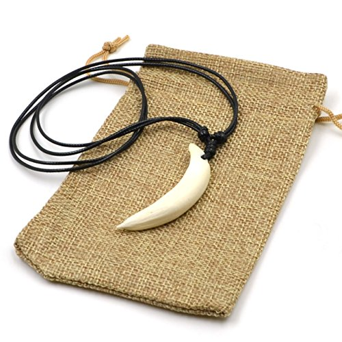 HZMAN Men's White Teeth Pendant Wild Boar Tusks Tribal Necklace Adjustable - Outdoor Amulet