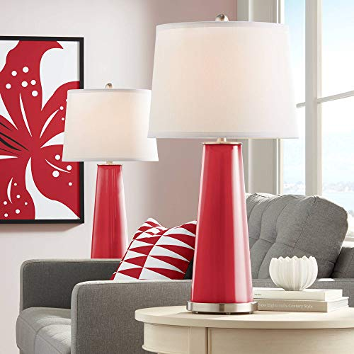 Leo Modern Table Lamps Set of 2 Ribbon Red Glass Tapered Column Plain White Drum Shade for Living Room Family Bedroom - Color + Plus (Ribbon Patent)