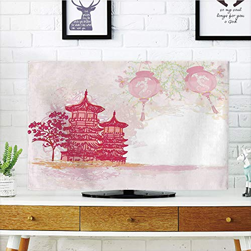 Multi Style,Lantern,Antique Chinese Temple with Lanterns and Vintage Style Asian Landscape Pagoda Decorative,Pink Soft Pink,Customizable Design Compatible 32