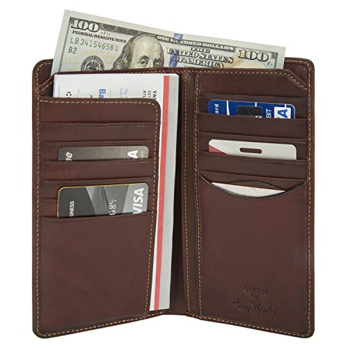 Tony Perotti Mens Italian Cow Leather [Personalized Initials Embossing] Bifold Checkbook Breast Pocket Wallet in - Secretary Mens Wallet Breast