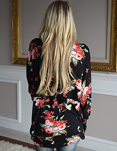 Manteau Chemisier Imprimé Fleur Femme Sexy Printemps Veste Casual Noir Irrégulier Cardigan Femmes Automne Tkria Manches Longues HqwvEBHf