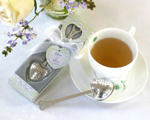 """""""Tea Time"""" Heart Tea Infuser in Tea-Time Gift Box - Baby Shower Gifts & Wedding Favors (Set of 12)"""