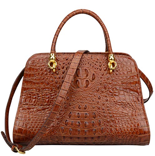 Ainifeel Women's Genuine Leather Crocodile Embossed Top Handle Handbags Shoulder Bags Purses