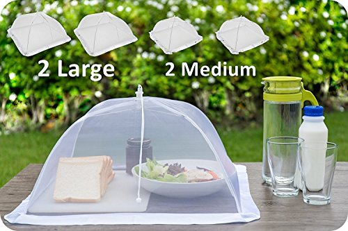 (4 Pack) Luxury Mesh Food Covers for Outdoors | 100% Organza Net Pop-Up Food Cover Tents | Highly Durable Picnic Food Covers | Easy To Use Food Umbrella | Keep (Food Net)