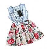 HeeLinB Girls Dress, Princess Dresses Sleeveless Denim Tops Floral Tutu Skirts, White, 6-7 Years (150)