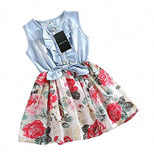 HeeLinB Girls Dress, Princess Dresses Sleeveless Denim Tops Floral Tutu Skirts, White, 6-7 Years (160)
